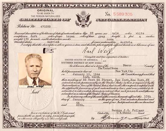Final Years: U.S. citizenship certificate